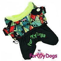 FW857-2020 M, For My Dogs, Фор Май Дог, Зимний комбинезон черный/мультиколор, для мальчиков