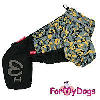 FW850-2020 M, For My Dogs, Фор Май Дог, Зимний комбинезон серо/жёлтый, для мальчиков