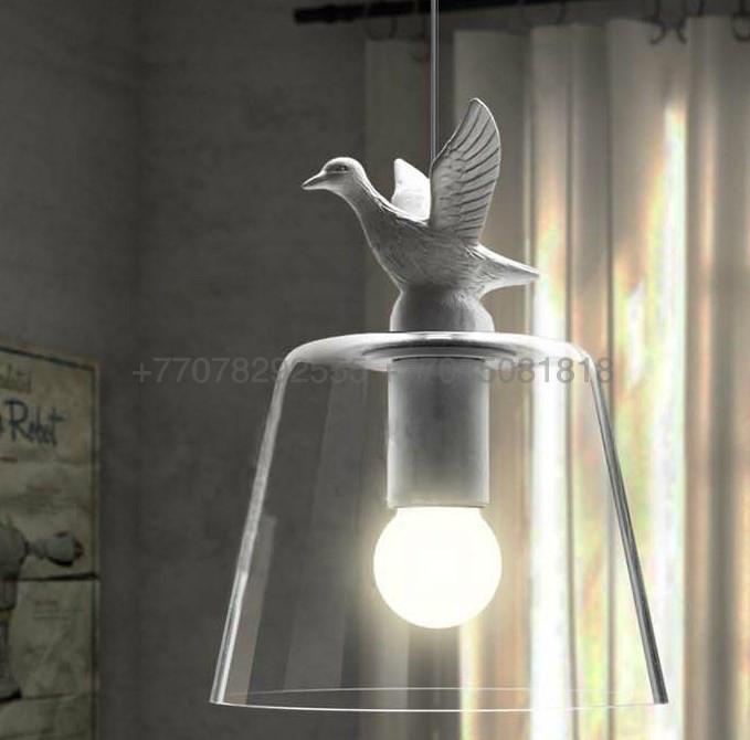 Одиночный стеклянный подвес с птицей White Bird