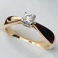 Золотое кольцо с бриллиантом 0,17Сt VS2/G Ex-Cut