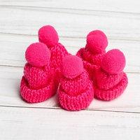 Шапка для игрушек вязанная с помпоном, набор 5 шт., цвет розовый
