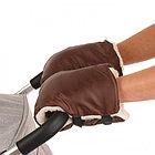 Муфты-варежки BAMBOLA на липучках шерстяной мех+плащевка (Лайт) Шоколад