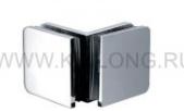 Коннектор-крепеж стекло-стекло SS304 T=8mm, Глянцевый, на 90*