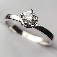 Золотое кольцо с бриллиантом 0,33Сt VS2/H, фото 1