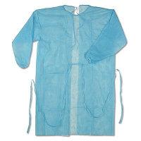 Халат хирургический (стерильный, манжет, ворот на завязках, р. 52-54, длина 120 см., пл. 25, голубой)