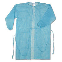 Халат (рукав на манжете, ворот на завязках, р-р 52-54, длина 120 см, спанбонд пл. 35/гм2 голубой) Н/с), шт