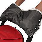 BAMBOLA Муфта для коляски шерстяной мех+плащевка+кнопки(лайт) Серая