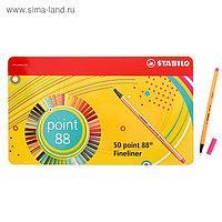 Набор ручек капиллярных 50 цветов STABILO Point 88, 0,4 мм, металлический футляр