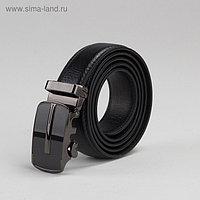 Ремень мужской, 2 строчки, пряжка автомат под тёмный металл, ширина - 3 см, цвет чёрный гладкий