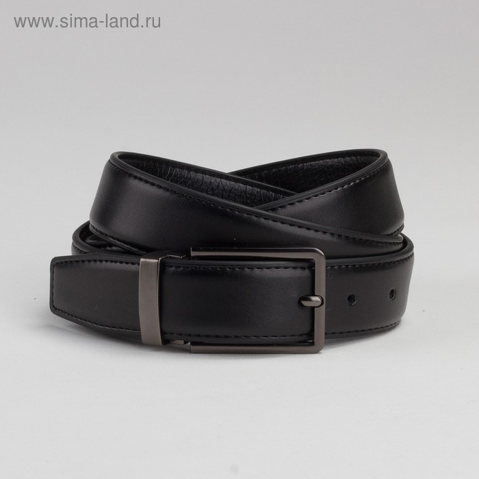 Ремень мужской, 2 строчки, пряжка под тёмный металл, ширина - 3 см, цвет чёрный гладкий - фото 1