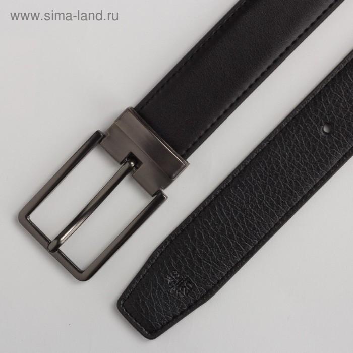 Ремень мужской, 2 строчки, пряжка под тёмный металл, ширина - 3 см, цвет чёрный гладкий - фото 3