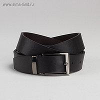 Ремень мужской, гладкий, пряжка под тёмный металл, ширина - 3 см, цвет чёрный