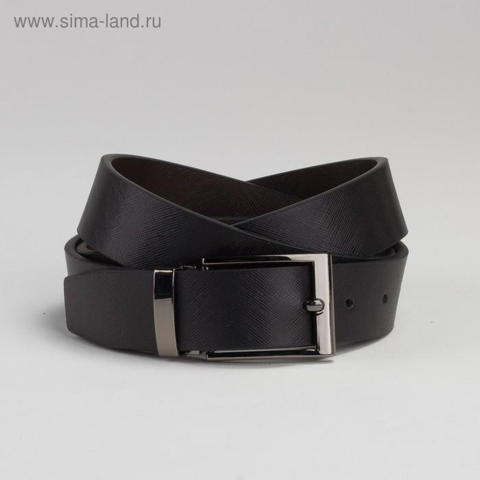 Ремень мужской, гладкий, пряжка под тёмный металл, ширина - 3 см, цвет чёрный - фото 1