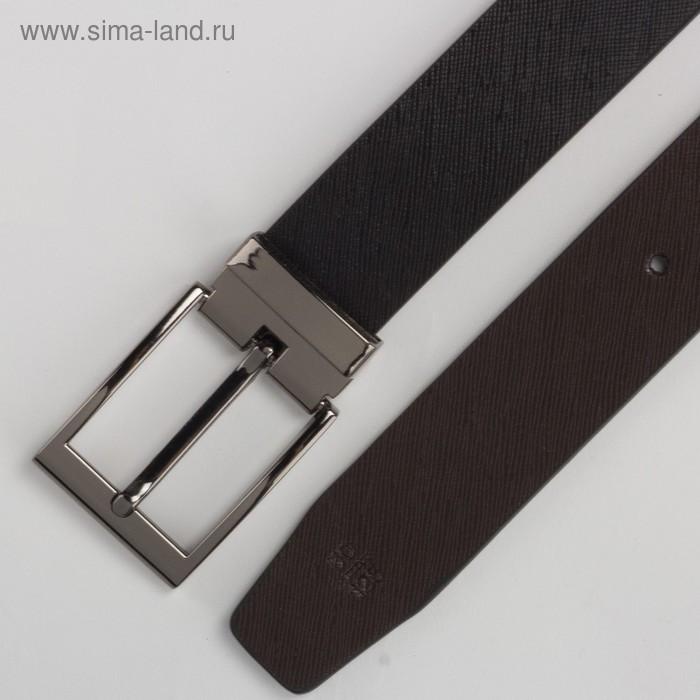 Ремень мужской, гладкий, пряжка под тёмный металл, ширина - 3 см, цвет чёрный - фото 3