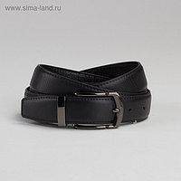 Ремень мужской, пряжка под тёмный металл, ширина - 3 см, цвет чёрный
