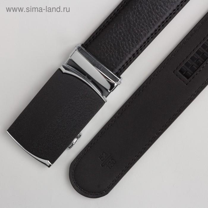 Ремень мужской, рисунок под кожу, 2 строчки, пряжка автомат металл, ширина - 3,5 см, цвет чёрный - фото 3