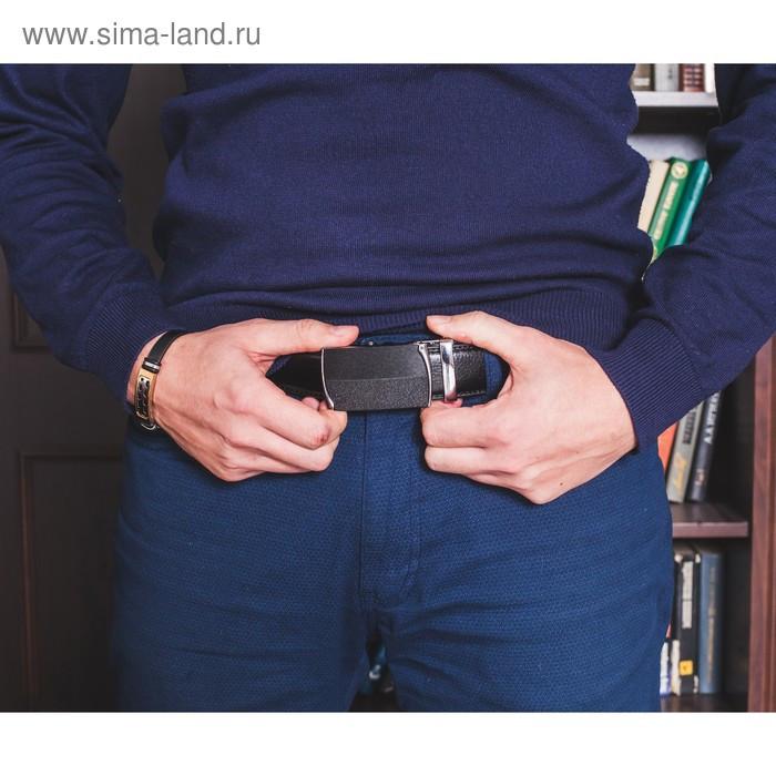 Ремень мужской, рисунок под кожу, 2 строчки, пряжка автомат металл, ширина - 3,5 см, цвет чёрный - фото 4