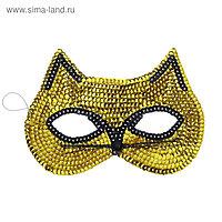 Карнавальная маска «Кошечка», с пайетками, цвет золотой