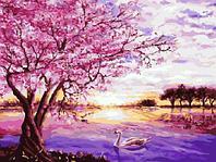 Картина по номерам GX 8061 (G 009) Лебедь под сакурой 40*50