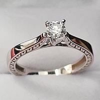 Золотое кольцо с бриллиантом 0.24Сt VS2/H EX-Cut, фото 1