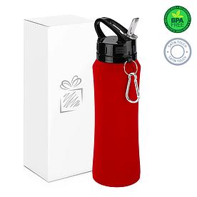 Бутылка для воды soft-touch, красная.