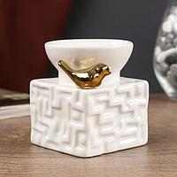 "Аромалампа керамика ""Золотая птичка"" 9,5х7,5х7,5 см, фото 1"