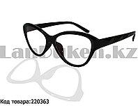 Компьютерные очки с толстой душкой Кошачья оправа глянцевые черные С1