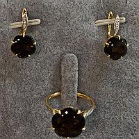 Комплект с бриллиантом и раухтопазом