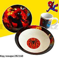 Набор детской посуды Человек паук Spider man чашка тарелка кружка красный