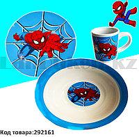 Набор детской посуды Человек паук Spider man чашка тарелка кружка голубая