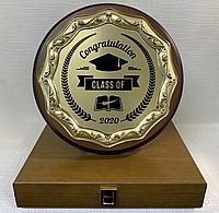 Наградная тарелка в подарочном футляре. (Цвет - золото, диаметр 23см), фото 1