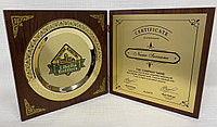 Наградная плакетка с тарелкой (Цвет - золото, диаметр 16см), фото 1