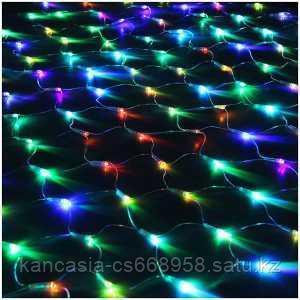"""Вельт Электрогирлянда светодиодная """"Сетка"""", 160 ламп, 4 цвета, 8 режимов, 1,5*1,5 м."""