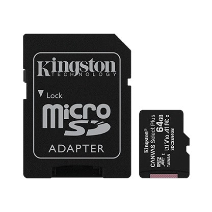 Kingston SDCS2/64GB-2P1A Карта памяти 64GB micro SDHC Canvas Select Plus 100R A1 C10 Two Pack + Single ADP