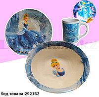 Набор детской посуды Принцесса Золушка Cinderella чашка тарелка кружка голубая