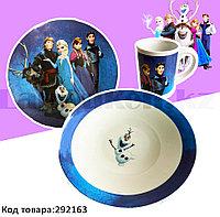 Набор детской посуды Холодное сердце Frozen чашка тарелка кружка голубая