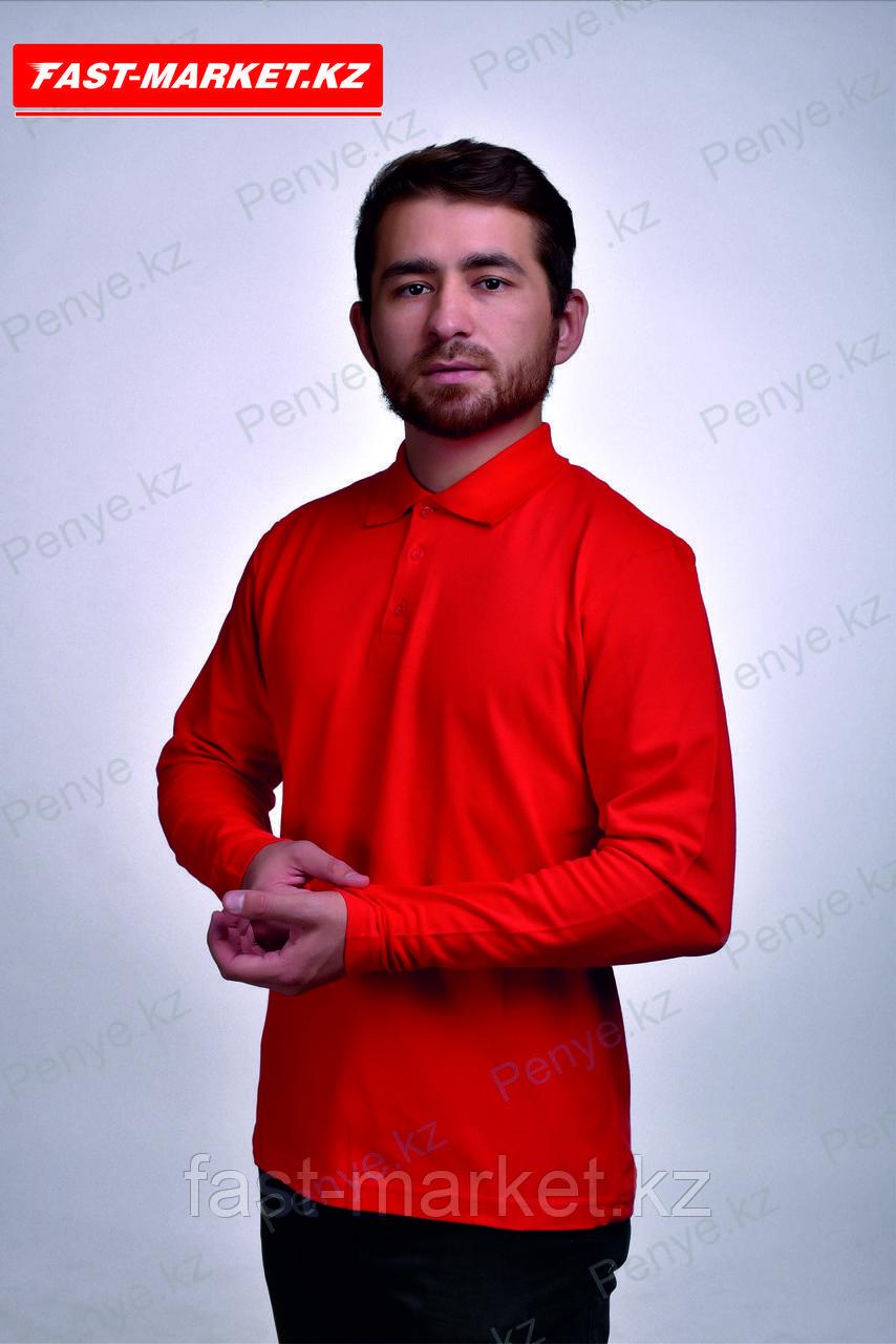 Рубашка поло с длинными рукавами красный
