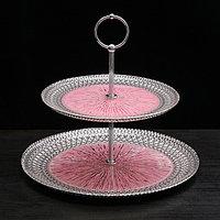 Блюдо 2-х ярусное «Морион», цвет чёрно-розовый с серебром