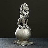 "Фигура ""Лев сидя на шаре"" серебро, 43х17см"