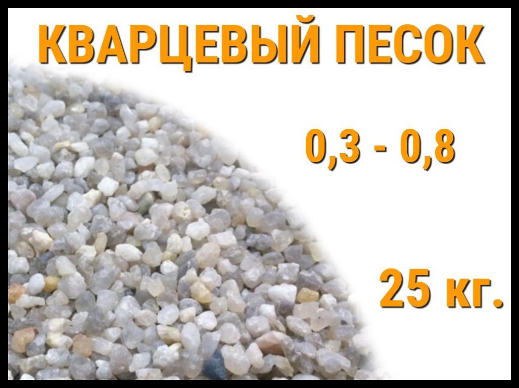 Кварцевый песок для фильтра бассейна 25 кг. (фракция 0,3-0,8 мм)