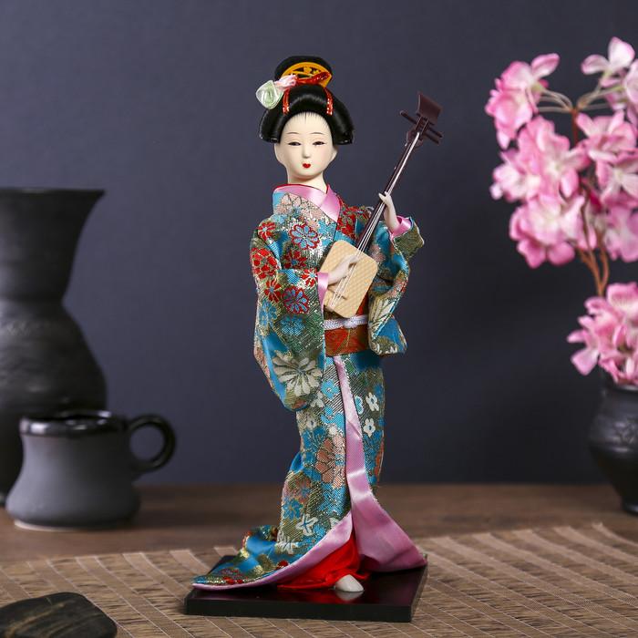 """Кукла коллекционная """"Гейша в цветочном кимоно с музыкальным инструментом"""" - фото 1"""