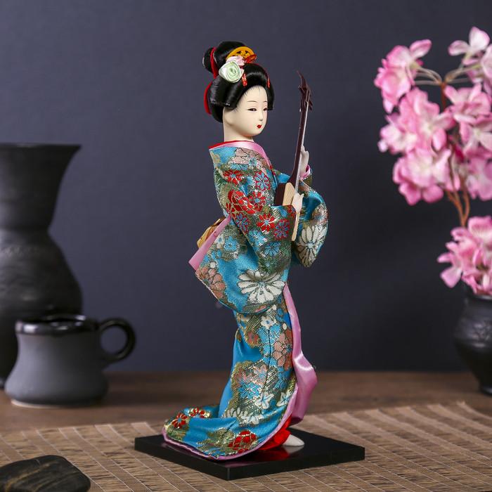 """Кукла коллекционная """"Гейша в цветочном кимоно с музыкальным инструментом"""" - фото 2"""