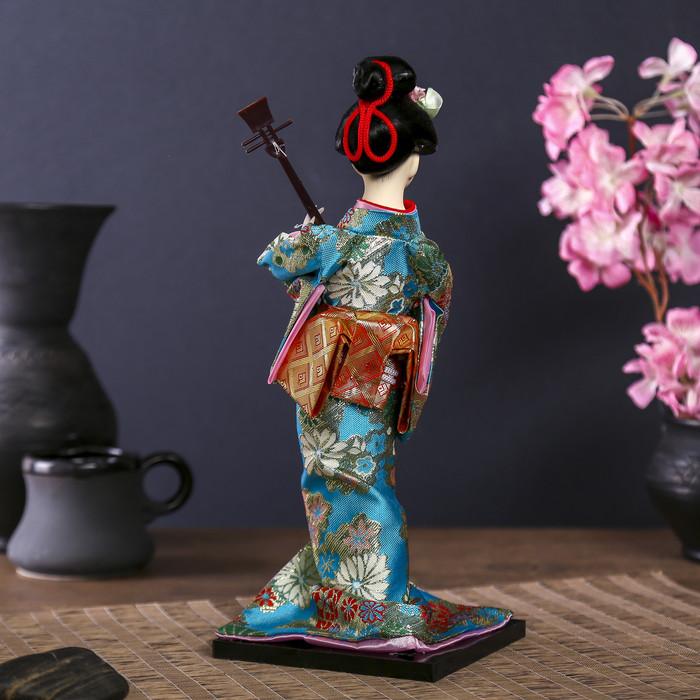 """Кукла коллекционная """"Гейша в цветочном кимоно с музыкальным инструментом"""" - фото 4"""