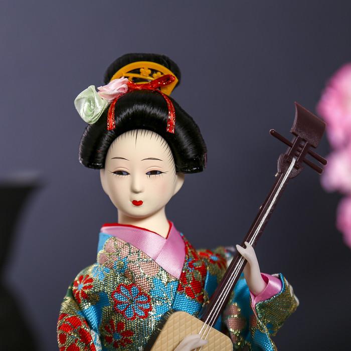 """Кукла коллекционная """"Гейша в цветочном кимоно с музыкальным инструментом"""" - фото 5"""
