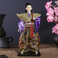 """Кукла коллекционная """"Самурай в золотом кимоно с мечом"""" 30х12,5х12,5 см"""