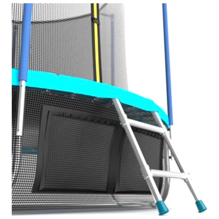 Батут EVO JUMP Internal 8 ft, d=244 см, с внутренней сеткой, нижней сеткой и лестницей, морская волна - фото 4