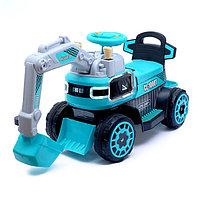Электромобиль «Экскаватор», электропривод ковша, световые и звуковые эффекты, цвет голубой