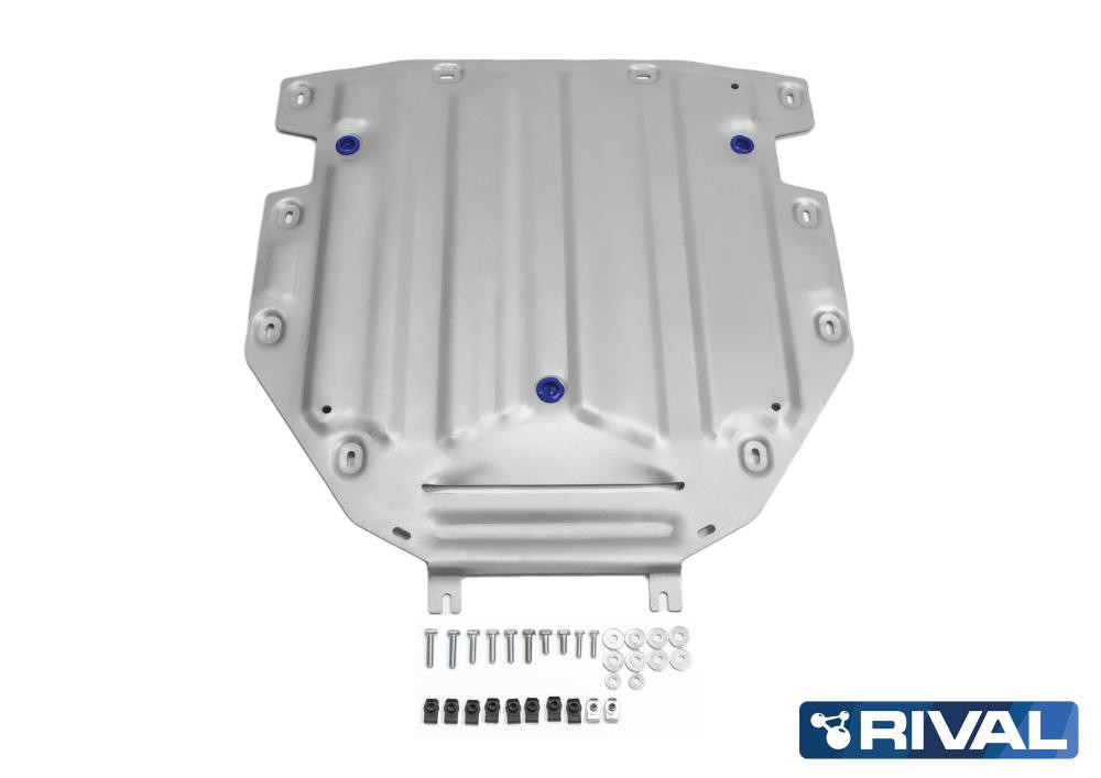 Защита КПП + комплект крепежа, Rival, Алюминий, Audi Q7 2015-н.в.