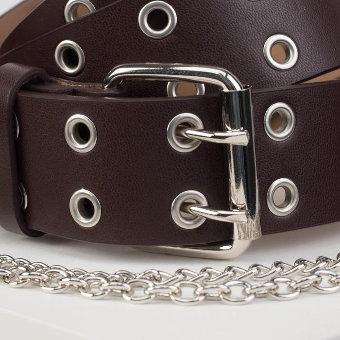 Ремень женский, ширина - 4 см, пряжка металл, цепь, цвет коричневый - фото 2