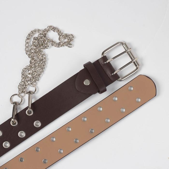 Ремень женский, ширина - 4 см, пряжка металл, цепь, цвет коричневый - фото 3